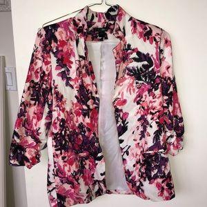 Aqua Bloomingdales pink & purple floral blazer
